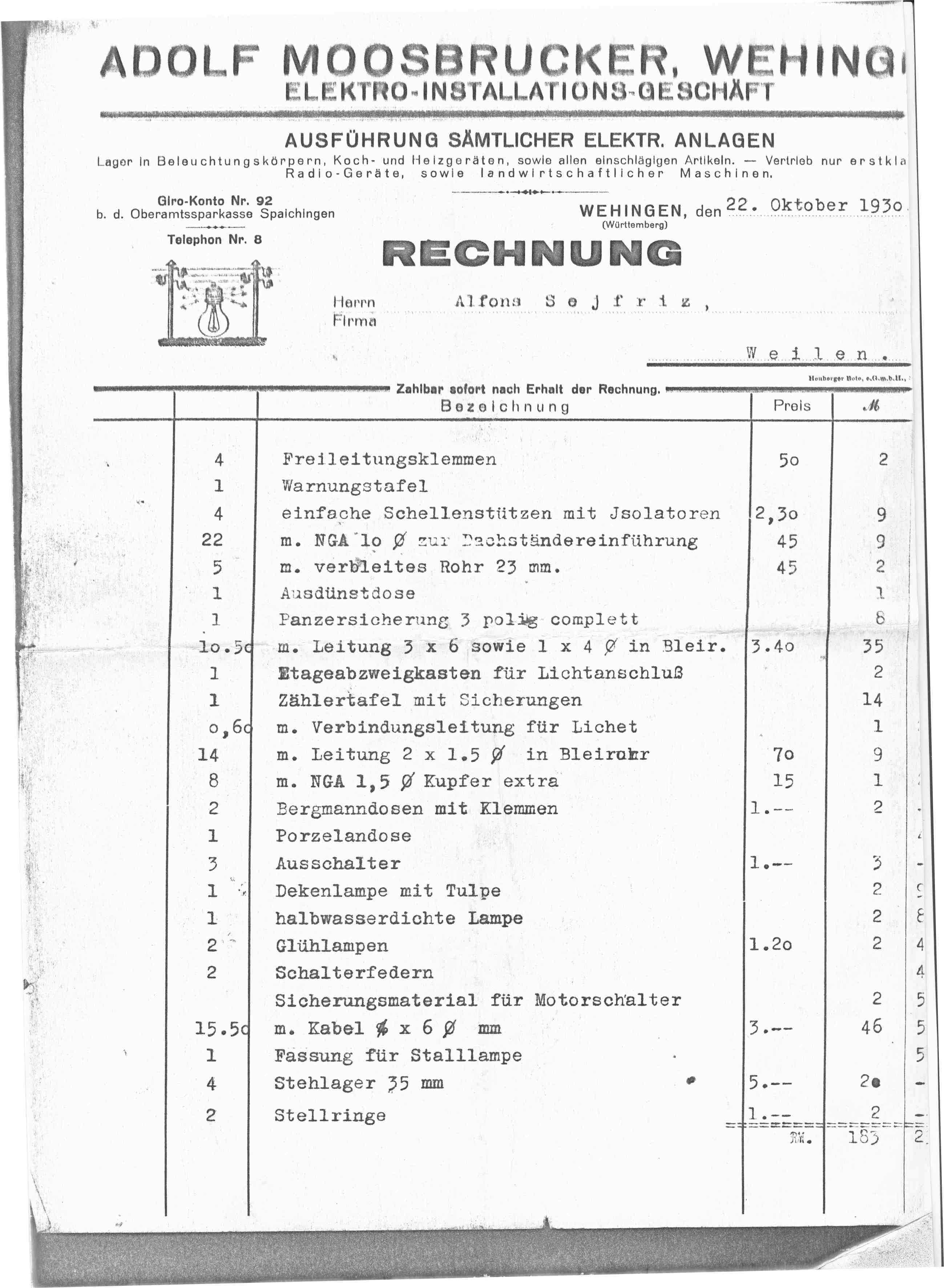 1930 Rechnung - Elektrotechnik Moosbrucker